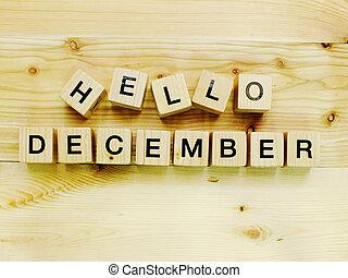 hello december wooden block
