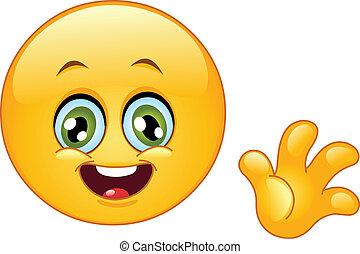 Hello emoticon - Cute emoticon waving hello