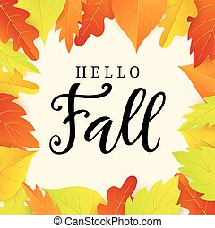 Hello fall banner template with bright leaves