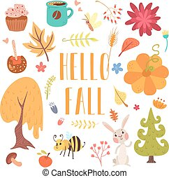 hello fall cute cartoon autumn set