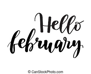 Hello February brush lettering ink inspirational quote. Handwritten calligraphy isolated on a white background. Vector illustration