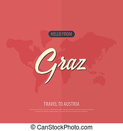 Hello from Graz. Travel to Austria. Touristic greeting card. Vector illustration.
