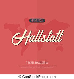 Hello from Hallstatt. Travel to Austria. Touristic greeting card. Vector illustration.