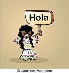 Hello from Mexico people design - Trendy spanish woman says ...