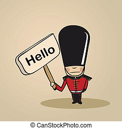 Trendy british man says Hello holding a wooden sign sketch. Vector file illustration layered for easy editing.