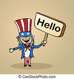 Trendy american man says Hello holding a wooden sign sketch. Vector file illustration layered for easy editing.