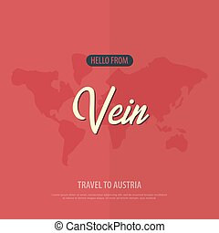 Hello from Vein. Travel to Austria. Touristic greeting card. Vector illustration.