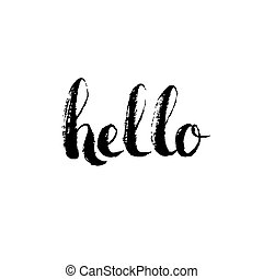Hello - hand drawn lettering design vector