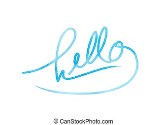 Hello hand drawn lettering with blue colors