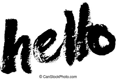Hello april hand lettered quote modern stock vector