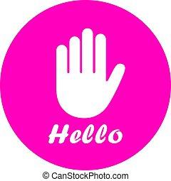 Hello hand vector icon
