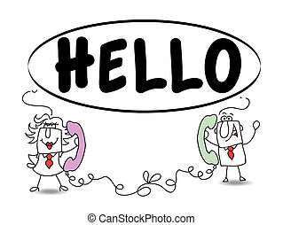 Hello How are you - Penelope and Joe are talking on phone. ...