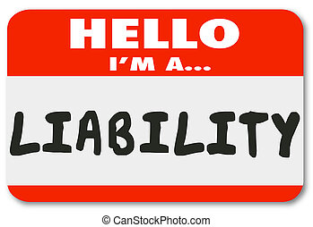 Hello I Am a Liability Red Name Tag Sticker Risk Employee -...
