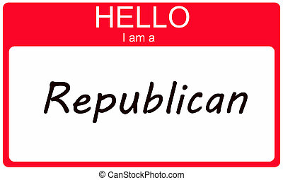 Hello I am a Republican on a red sticker name tag.
