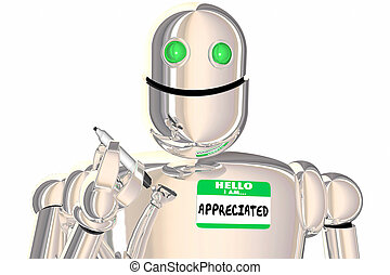 hello i am curious robot asking questions name tag 3d illustration
