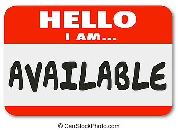 Hello I Am Available Name Tag Sticker Accessible Convenience...