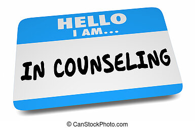 Hello I Am in Counseling Getting Help Therapy Name Tag 3d Illustration
