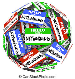 Hello I Am Networking nametags and stickers in a ball or sphere to illustrate the value of meeting and greeting people in the hopes of getting a new opportunity for a job or career, or sales success