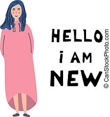 Hello I am new. Inscription. The concept of the new employee in collective at work. White woman, flat illustration
