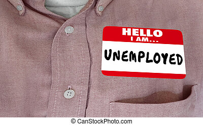Hello I Am Unemployed Name Tag Sticker Shirt Worker No Job 3d Animation