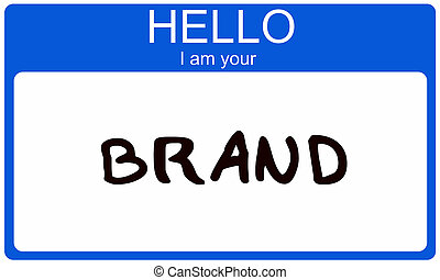 Hello I am your Brand - A blue name tag sticker with the...