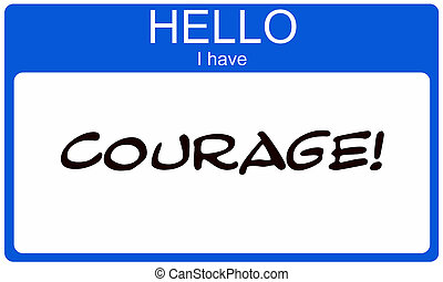 Hello I have Courage blue name tag sticker