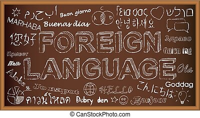 Hello in different languages. Chalk board doodle with symbols on foreign language.
