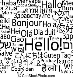 Hello in different languages of the world, seamlees ...