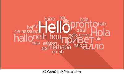 HELLO in different languages, word tag cloud
