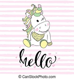 hello in unicorn typography and unicorn illustration vector. Illustrations for children. Baby Shower card