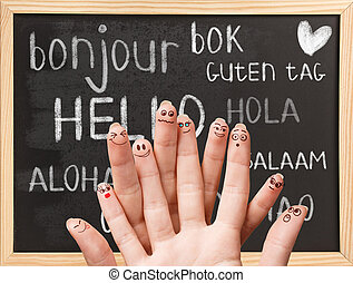 Hello in various languages on chalkboard