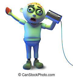 Hello is it me you are looking for asks zombie monster on the tin can phone, 3d illustration render