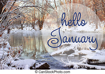 HELLO JANUARY greeting card. Winter holidays concept. Fir...