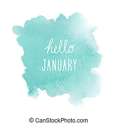 Hello January greeting with green watercolor background