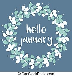 Hello january winter vector card - Hello january winter...