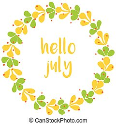 Hello july vector wreath