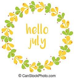 Hello july vector wreath