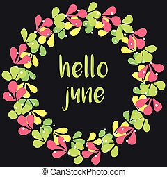 Hello june wreath vector card