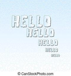 Hello - lettering on a blue background. Vector vintage letterpress effect