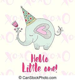 Birthday vector illustration with cartoon cute elephant.