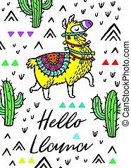 Hello llama. Print with alpaca and cactuses - Hello print....