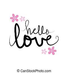 Hello Love hand lettering