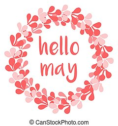 Hello may pink vector wreath card