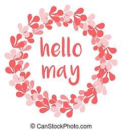 Hello may pink vector wreath card