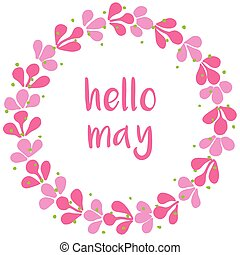 Hello may pink wreath vector card