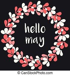 Hello may watercolor wreath vector card