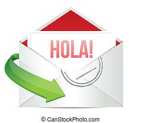 hello message on an envelope written in Spanish