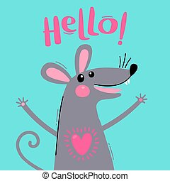 hello., mignon, dit, doux, salutation, illustration, vecteur, rat., souris, carte
