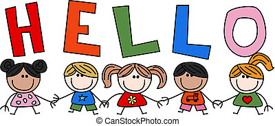 hello mixed ethnic children
