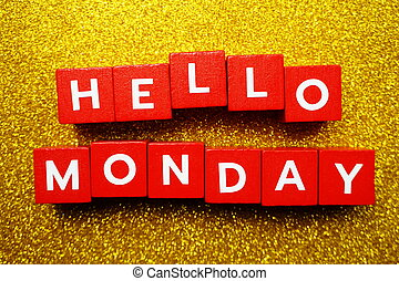 Hello Monday alphabet letter on yellow glitter background